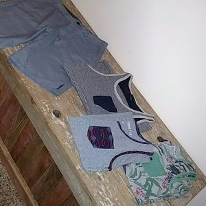 Oneill shorts and 3 tanks assorted lot